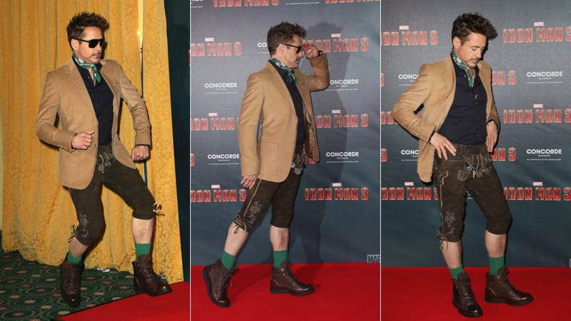 Robert Downey Jr. Turns Iron Man Photocall Into Audition for Von Trapp Family