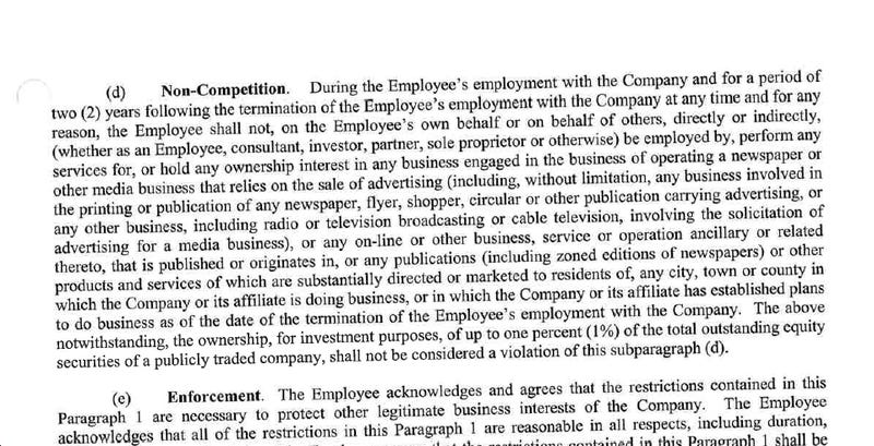 A Newspaper Company's Atrociously Exploitative Noncompete Agreement
