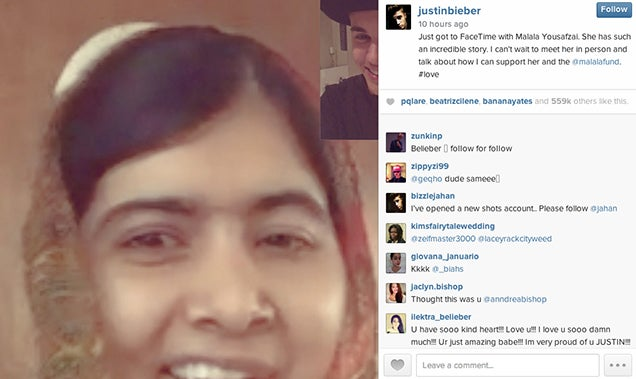 Today in Wait, What? Justin Bieber FaceTimes With Malala Yousafzai