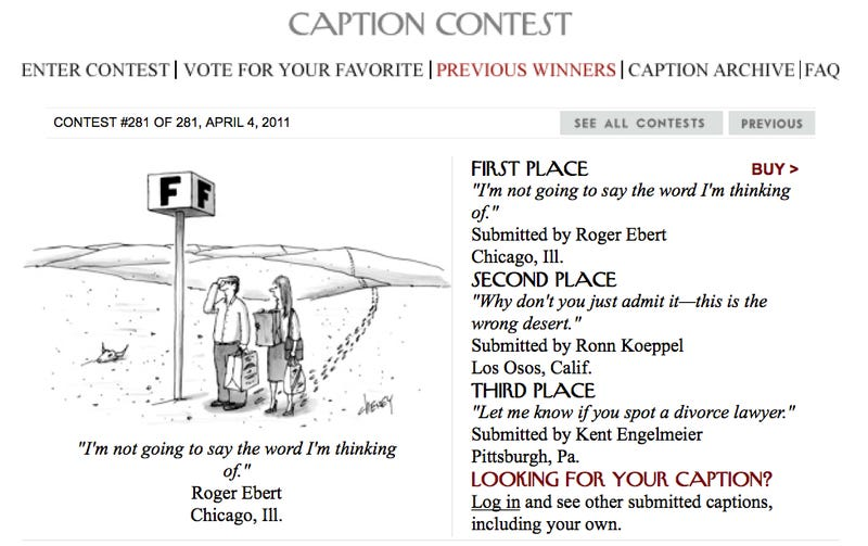 Roger Ebert Wins New Yorker Cartoon Caption Contest