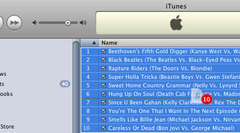 Drag and drop an iTunes playlist's songs into a folder
