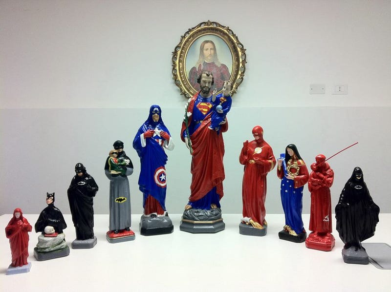 Saintly statues get superheroic makeovers