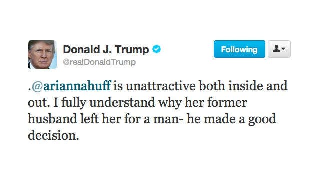 Windbag Donald Trump Goes After Another Woman's Looks, Calls Arianna Huffington Ugly