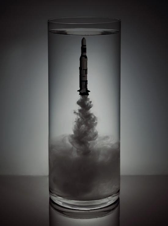 Spacecrafts Blasting Off Underwater