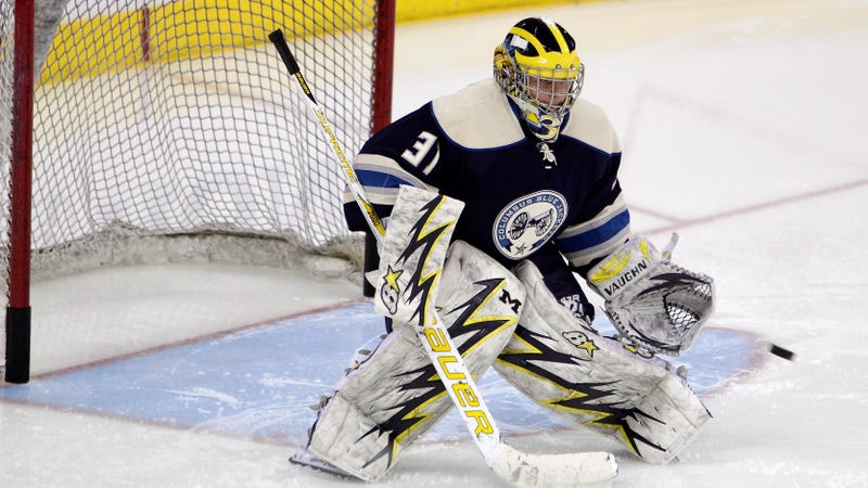The New Columbus Goalie Showed Up For Work In Michigan Gear