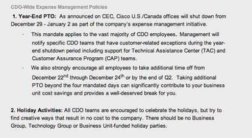 Cisco kills Christmas