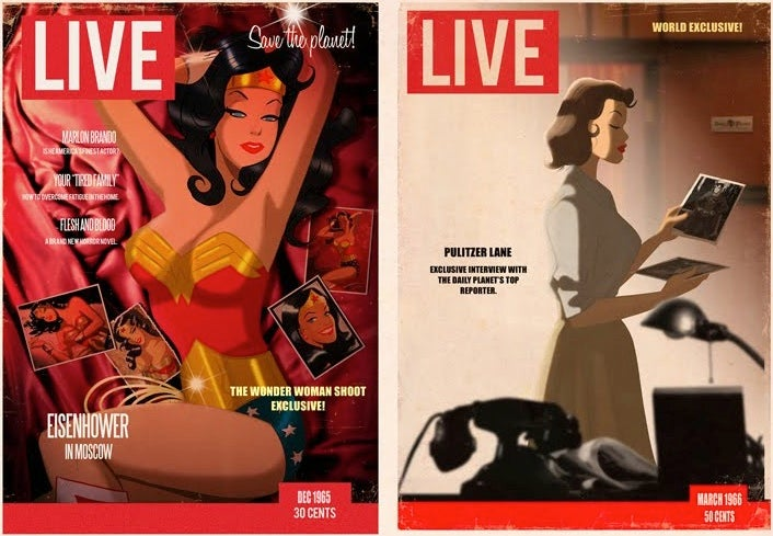 Superheroes grace the covers of Life Magazine