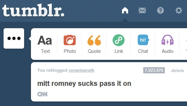 Tumblr's Most Popular Post of All Time is a Juvenile Comment About Mitt Romney Sucking