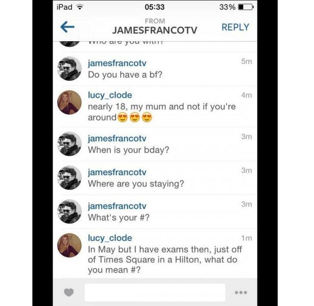 James Franco Apparently Tried to Hook Up With a Teenager On Instagram