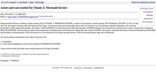 Amazing casting call for Titanic 2: Mermaid Saviors!