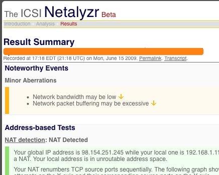 Netalyzr Determines Your Network Health