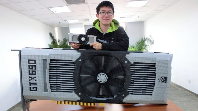 Massive Lego model of Nvidia GeForce GTX 690 graphics card