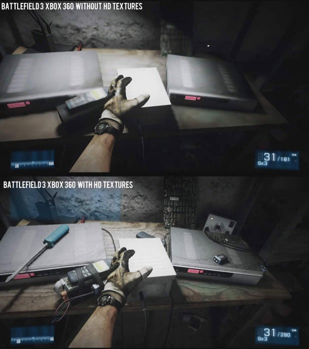 Comparing Battlefield 3 On 360 With HD Textures and Without