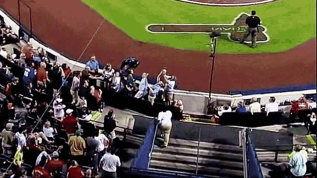 Fan At Braves Game Drops Foul Ball, Lunges, Goes Splat