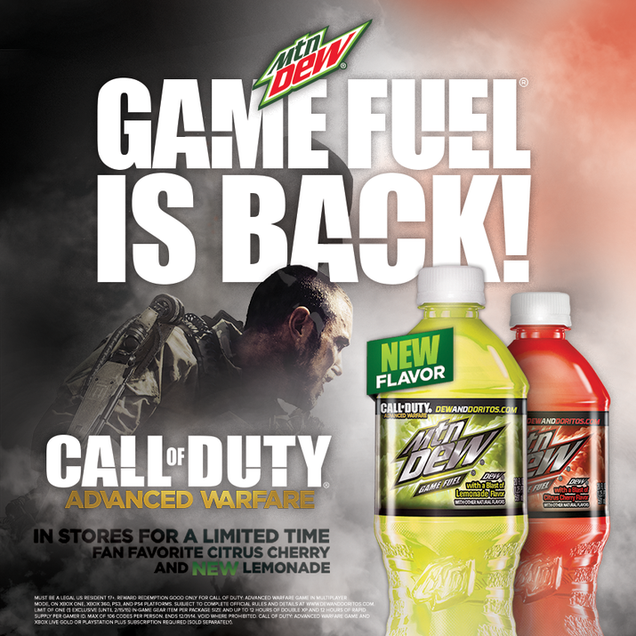 Mountain dew game fuel once again heeds the call of duty
