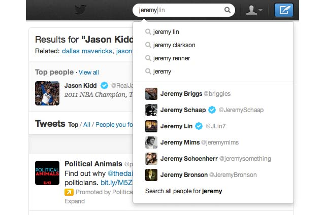 Twitter Search Now Has Autocomplete and Other Improvements