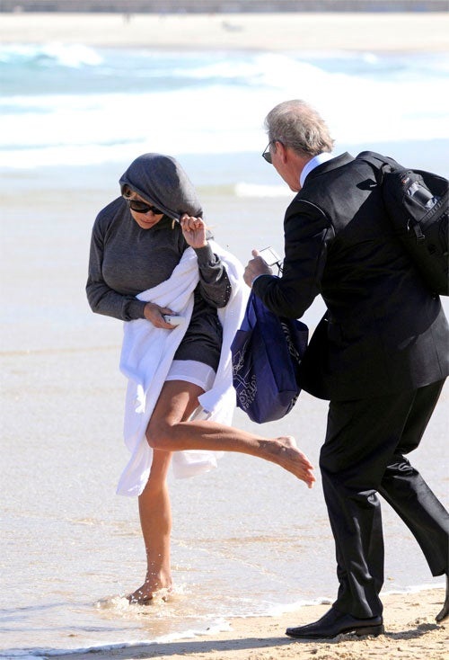 Pam Anderson Skips Past Scary Sydney Suit