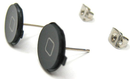iPhone Home Button Earrings: Please Don't