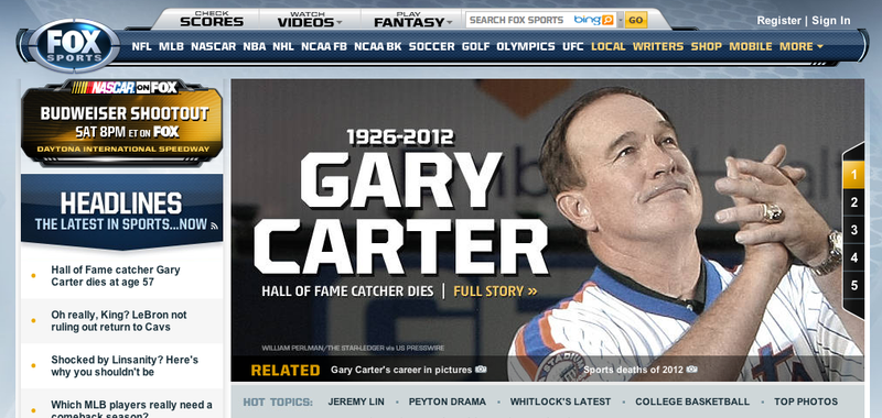 Fox Sports Typo Has Gary Carter Growing Up In The Great Depression