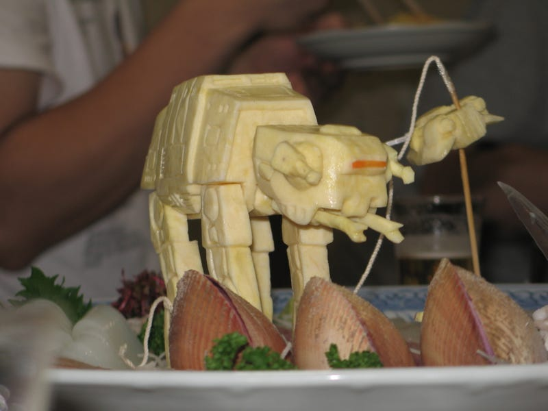 Vegetable Jabba lords over your sushi platter