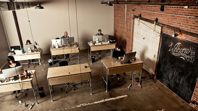 The Industrial Brick and Wood Workspace