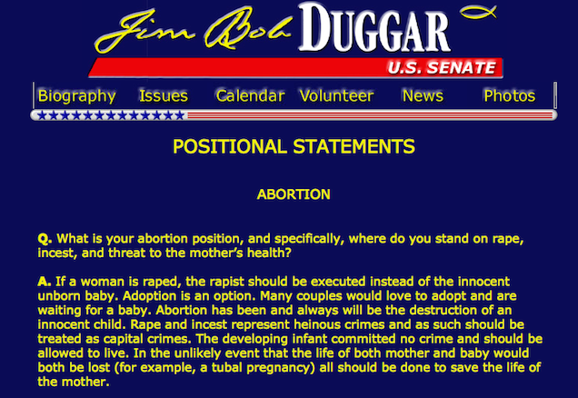 Jim Bob Duggar says he supports Josh, but his Senate campaign website says otherwise