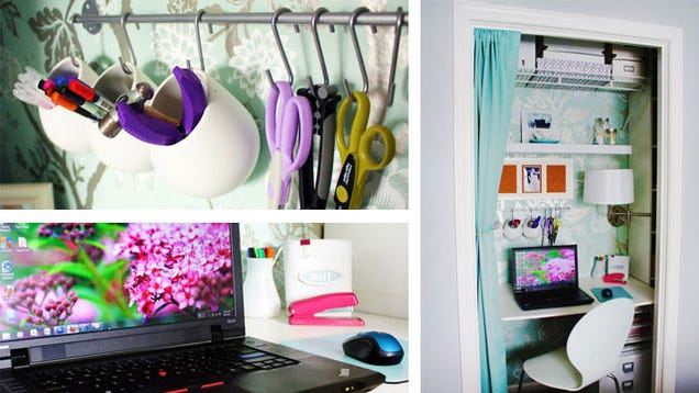 Curtains, Closets, and Clever Organization: A Tiny Vertical Workspace