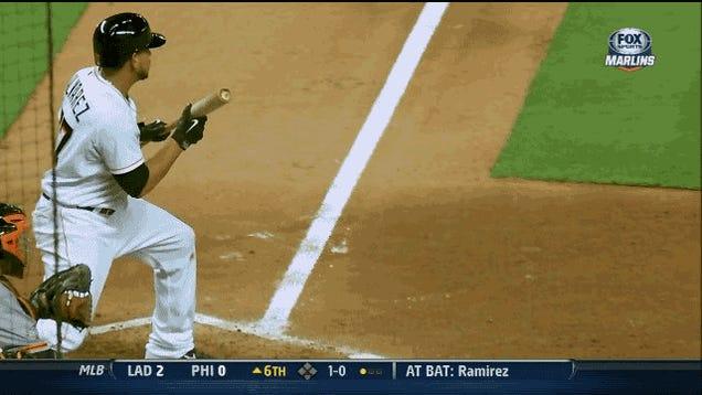 Henderson Alvarez Almost Successfully Bunts With Levitating Bat