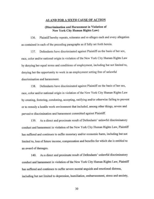 Sandra Guzman's Complaint Against the New York Post and Col Allan