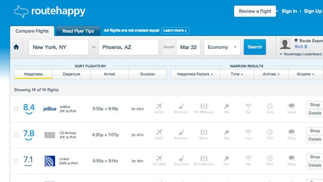Routehappy Ranks Flights Based on the Best Experience and Amenities