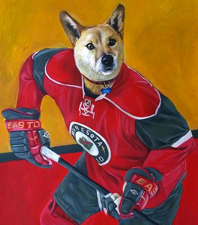 Minnesota Wild Fans Get Custom Portrait Of Their Dog As A Hockey Player