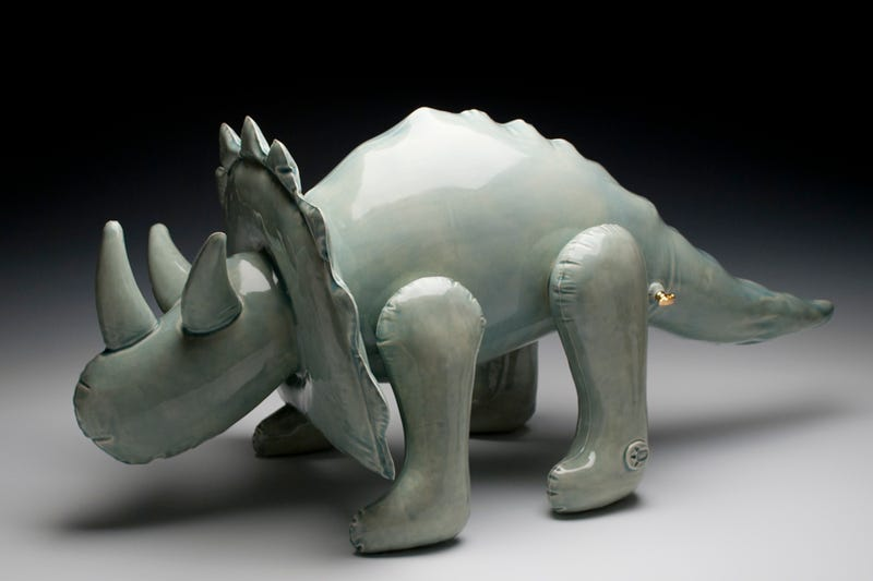Playful ceramic sculptures look like inflatable toy dinosaurs