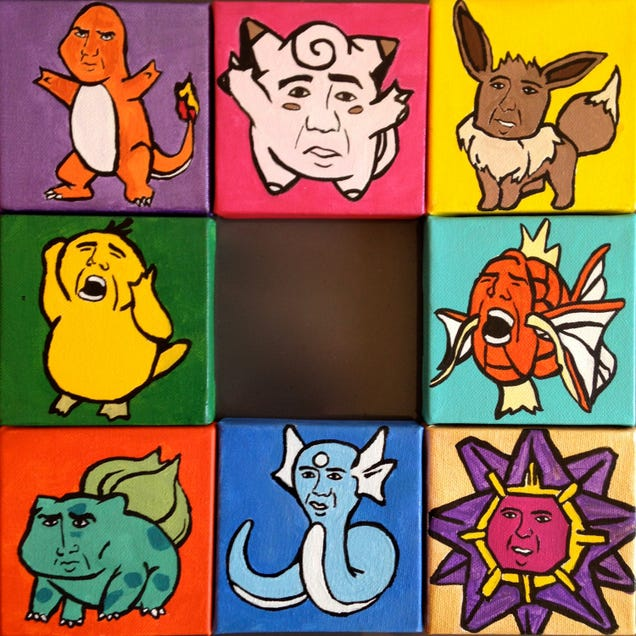 Artist Paints Nic Cage As Various Pokémon—It's As Weird As You'd Expect