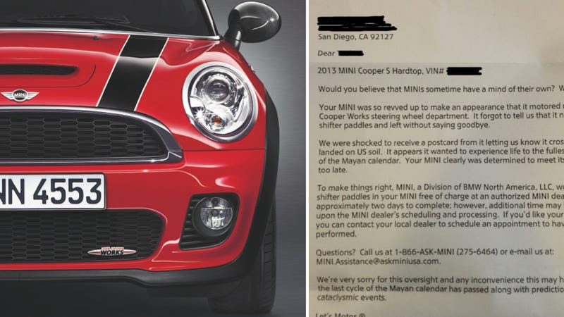 Mini Delivers Car That's Missing Parts, Sends Best Apology Note Ever