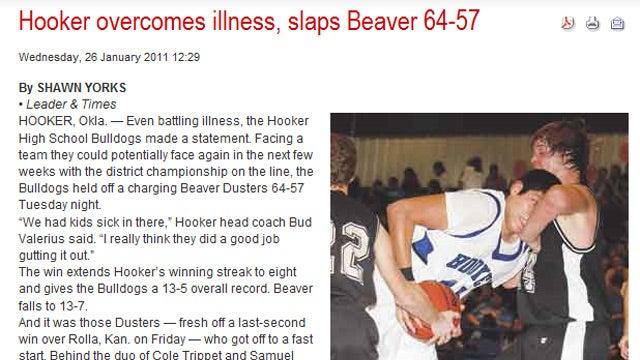 'Hooker Overcomes Illness, Slaps Beaver'