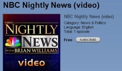 """NBC Nightly News"" goes video podcast"