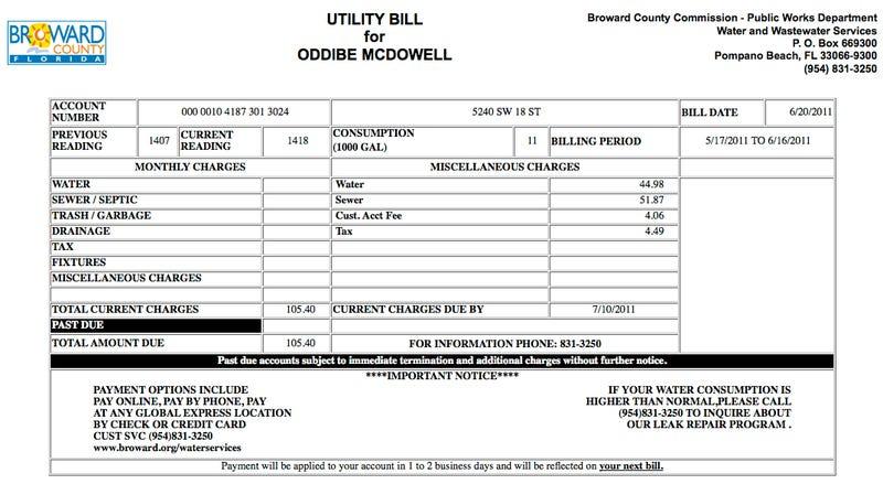Alert: Oddibe McDowell's Water Bill Is $105.40
