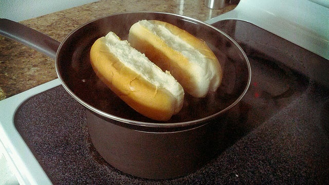 Steam Buns While You Boil Hot Dogs