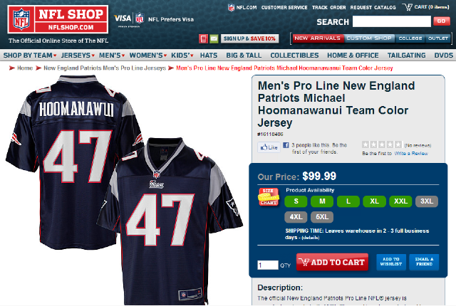 The NFL Pro Shop Can't Fit Michael Hoomanawanui's Name On His Jersey
