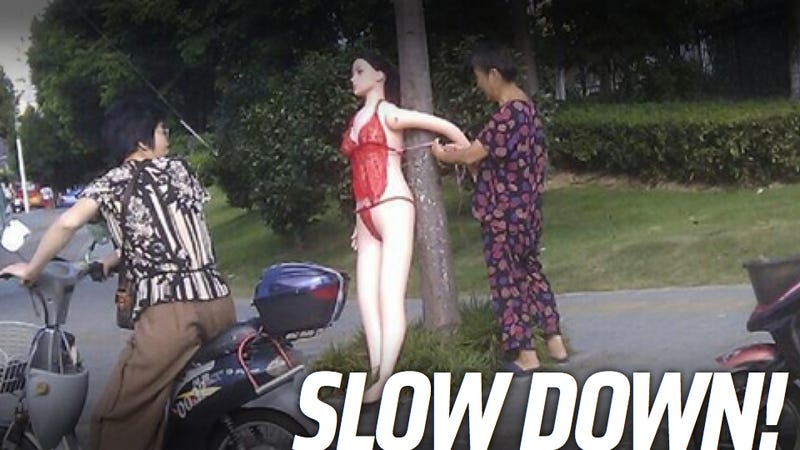 This Old Lady Slows Traffic With A Sex Doll