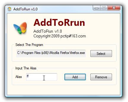 AddToRun Adds Aliases to the Windows Run Box