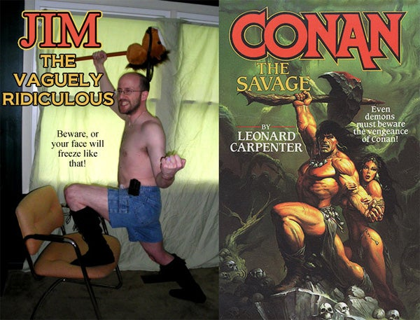 Macho Fantasy Novel Covers (As Reenacted By A Normal Dude In Denim Shorts)