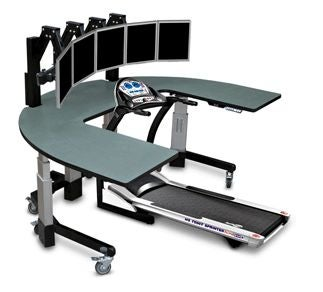 Treadmill Desk With Five Monitors Overstimulates As You Exercise