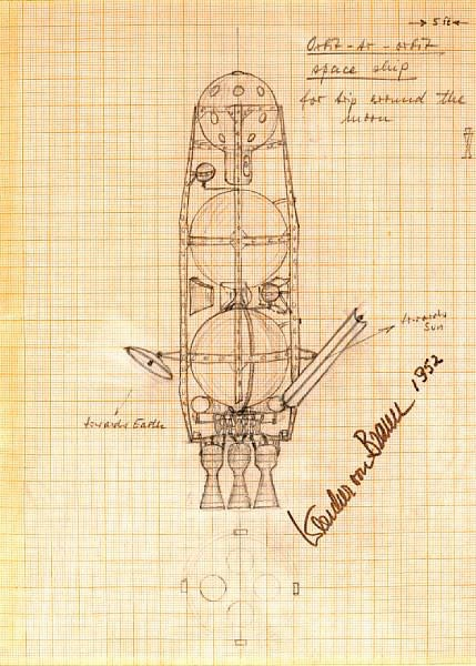 Wernher von Braun's 1952 'Moon Rocket' Concept Sketch Sells for $132,000