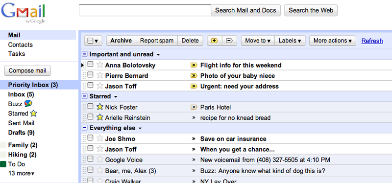 Gmail Priority Inbox Finds and Sorts Important Messages Automatically