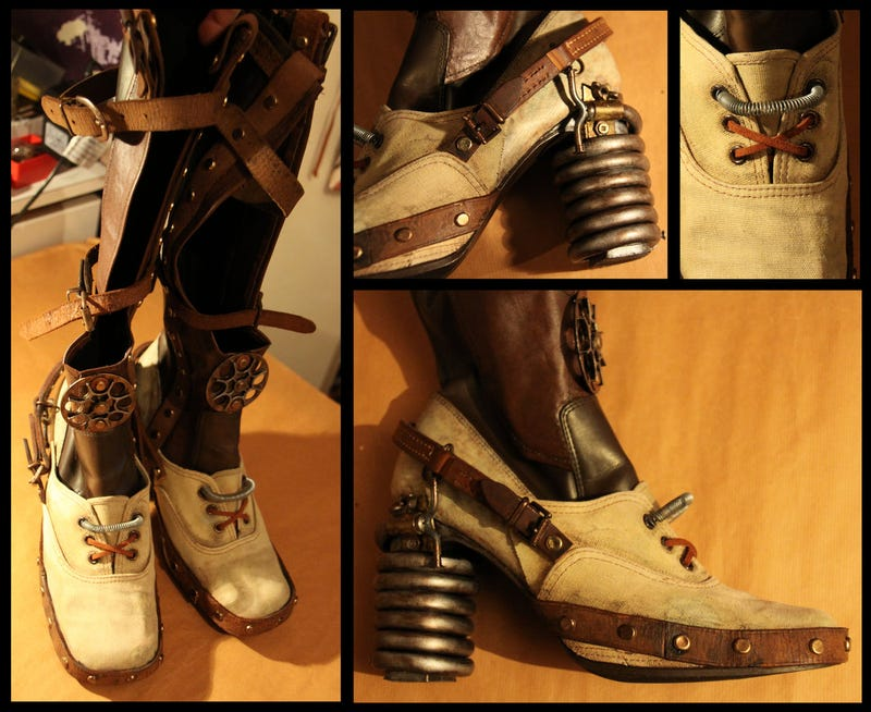 These steampunk Portal Boots would do 19th-Century Chell proud