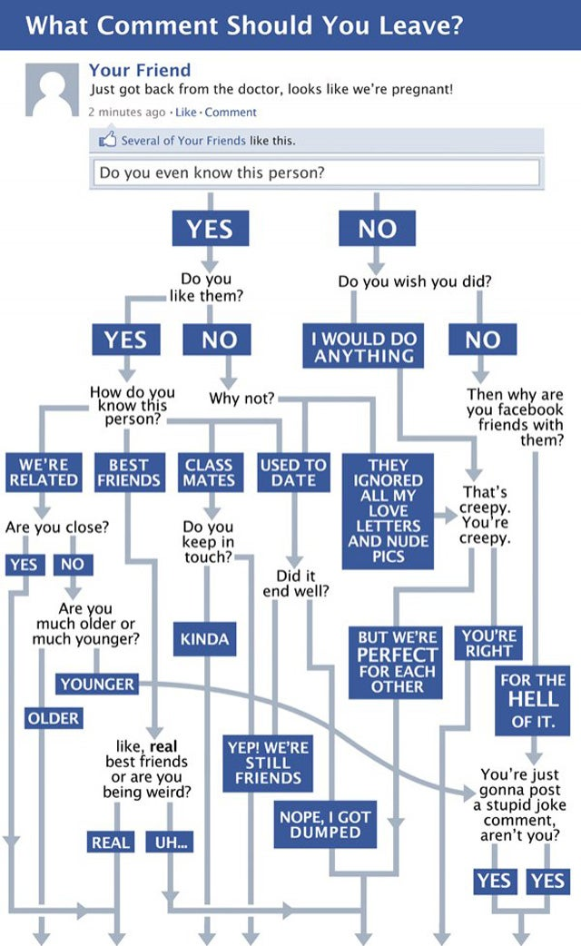 Flowchart: What Facebook Comment Should You Leave?