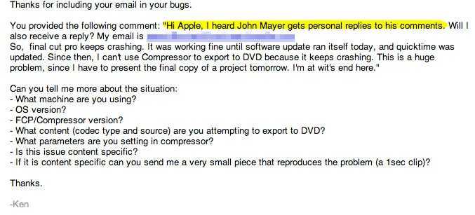 """John Mayer Here"" Works, Gets Direct Apple Reply to Anyone"