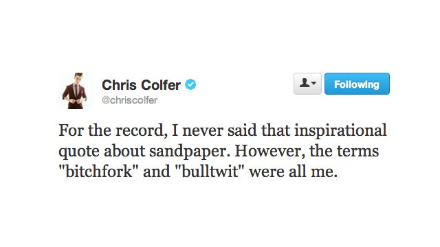 Chis Colfer Did Not Say That Inspirational Thing You Thought He Said