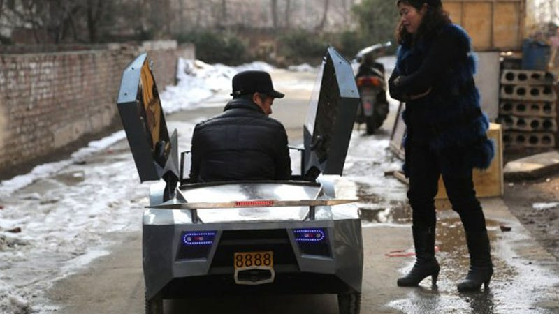 China's Best Grandpa Builds A Mini Electric Lambo For His Grandson
